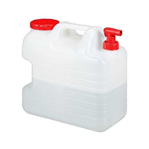 Relaxdays Bidón con Grifo, Tapón de Rosca, Depósito de Agua Potable, para Camping, 20L, Sin BPA, 1 Ud, Blanco & Rojo, 20 litros