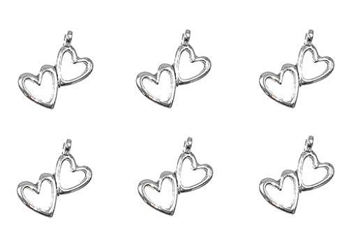 50pcs Double-heart Hollow-out Charm Heart-to-heart Pendant for DIY Necklace Bracelet Jewelry Making Findings(Antique Silver Tone)