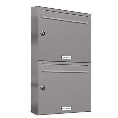 AL Briefkastensysteme 2er Briefkastenanlage Aluminiumgrau RAL 9007, Premium Doppel-Briefkasten DIN A4, 2 Fach Postkasten modern Aufputz