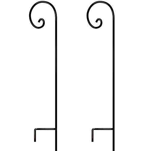 2 Pack Shepherds Hook 65 Inch Tall 1/2 Thick Rust Resistant Solid Metal for Bird Feeder Pole Stand Pathway Light Solar Lantern Plant Basket Hanger Stand Mason Jar Crook Outdoor Wedding Decor Garden