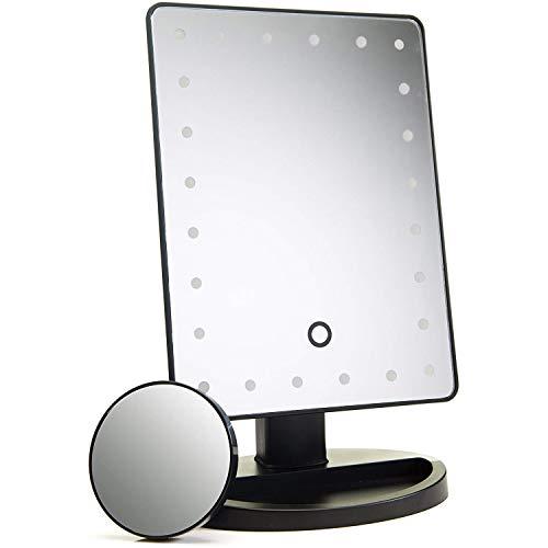 ADOV Espejo Maquillaje con Luz, 24 LED Espejo Cosmético de Sobremesa,