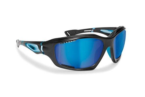 BERTONI Gafas Deportivas Polarizadas Hidrofóbicas Envolventes a Prueba de Viento para Ciclismo Carrera Deporte Acuaticos Esqui Pesca Kitesurf by Italy P1000 (Negro Mate/Azul)