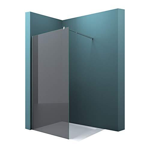 Mai & Mai Paroi de douche fumée 100x200 pare-douche à l'italienne teintée BR2VG verre trempé 10mm easy clean avec stabilisateur carré BRAM2