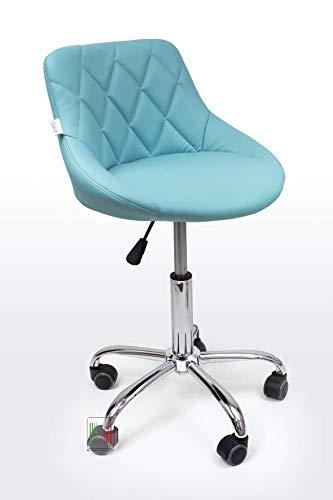 Stil Sedie - Poltrona Sedia Cameretta Girevole Modello GAIA Sedia da ufficio base in metallo cromato con ruote, da scrivania con schienale e regolabile in altezza, colore (Celeste Turchese)