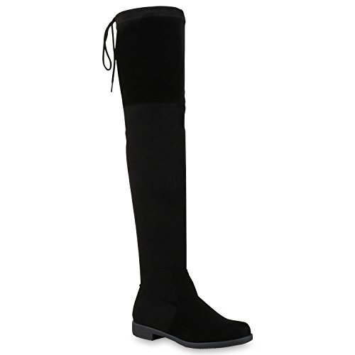 Basic Damen Overknees Schleifen Stiefel Samt Flach Langschaftstiefel Overknee Boots Blockabsatz Schuhe 121547 Schwarz 36 Flandell