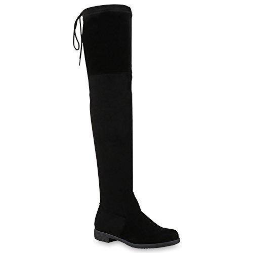 Stiefelparadies Damen Stiefel Overknees mit Blockabsatz Schleifen Flandell, Schwarz, 39 EU