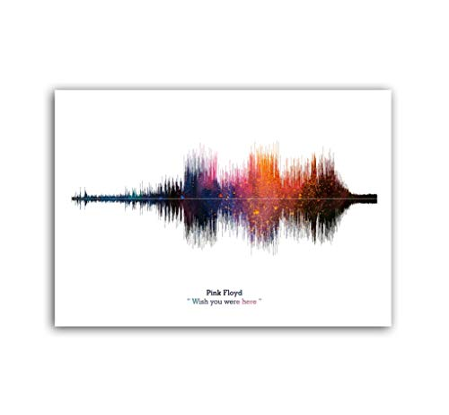 LAB NO 4 Pink Floyd Band Wish You were Here Song Soundwave Print Music Lyrics Poster in A2 Size