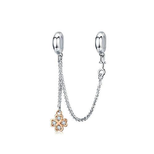 HMMJ Encantos compatibles Pandora y chamilia Pulseras, encantos Europeos y Colgante en Plata 925 - Cadena de Seguridad de trébol de Oro Rosa