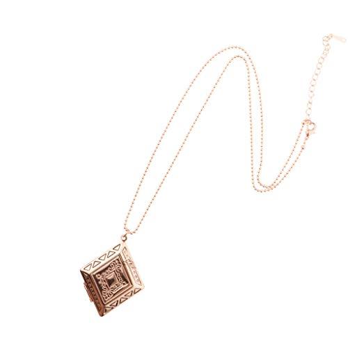 Elegante Raute Gravierte Metall Messing Medaillon öffnende Foto Medaillons Bilderrahmen Halskette Charme Denkmal Anhänger Mit Perlen Kette - Rose Gold