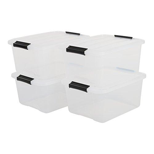 IRIS, 4er-Set stapelbare Aufbewahrungsboxen 'Top Box', mit Deckel und Klickverschluss, 15 Liter, Kunststoff / Plastik, transparent