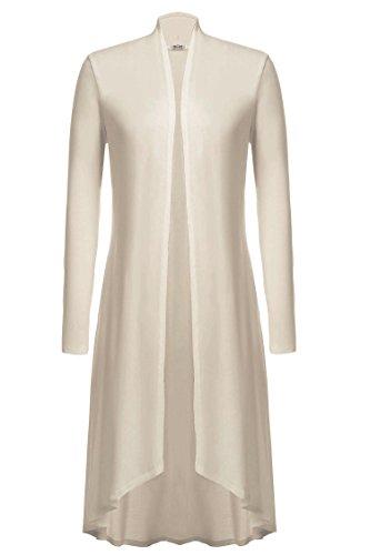 Meaneor Damen Maxi Cardigan Jerseymantel Strickjacke Geometrische Irregular Lose Pullover Mantel Offen Loose Fit Baumwolle , Beige - EU 40(Herstellergröße: L)