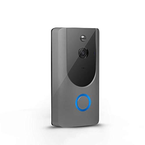 XJIANQI Ring Video Türklingel, 720P HD-Video, Advanced Motion Detection Smart Wireless WiFi Video Tür HD Überwachungskamera, Nachtsicht-Zwei-Wege-Anruf Und Echtzeit-Video-Funktion,Grau
