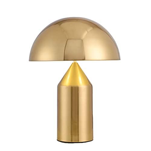 HENY LED Lámpara De Flexo Escritorio,Cuidado De Ojos Nórdico Creativo Seta Forma Dormitorio Lámpara De Noche,Moderno Estilo para Oficina Casa,Poder Interruptor Botón-Dorado