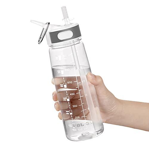 GHONLZIN Wasserflasche 800ML Sports Bottle BPA-freier Trinkflasche mit Strohhalm & Zeitmarkierungs-Tracker, Spülmaschinenfest Water Bottle für Fahrrad, Gym, Yoga, Outdoor, Camping