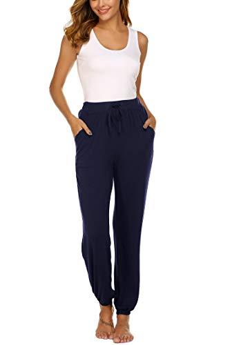Unibelle Yogahosen Damen Lang Hose Weich Jogginghose mit Tasche Sporthose für Yoga Pilates Fitness Training Navyblau-S