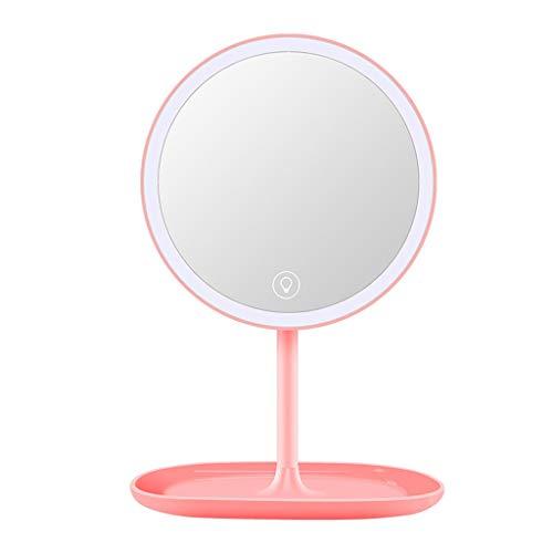 Espejo De Luz De Maquillaje Con Control Táctil, Espejos De Tocador Iluminados Con Led, Con Base Organizadora De Cosméticos, Regulable, Recargable Por Usb, ángulo Ajustable, Función De Almacenamiento