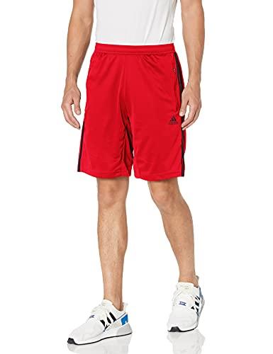 adidas Men's Standard Designed 2 Move 3-Stripes Shorts, Scarlet/Black, Medium
