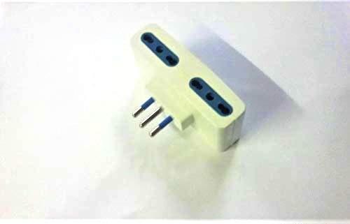 ProDigital Adaptador múltiple plano enchufe (pequeño) 10 A y salida tomas bipaso (pequeño y grande) cuádruple