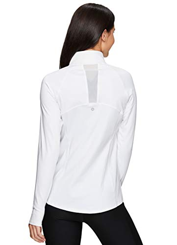 RBX Active Women's Athletic Long Sleeve Mock Neck Super Soft Peached Zip Up Running Jacket with Pockets S20 White M