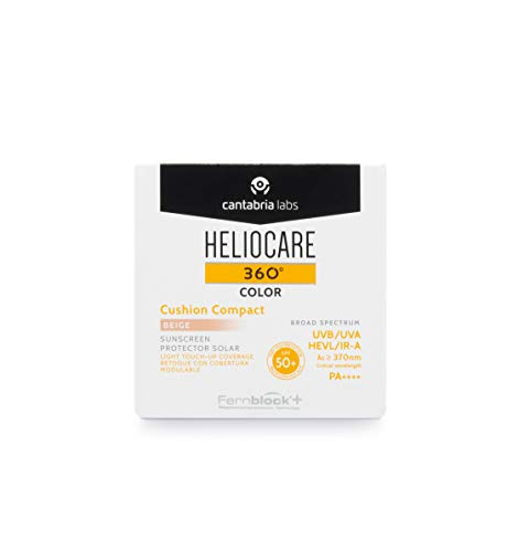 Heliocare 360° Color Cushion Compact Bronze 15g SPF 50+ / Light Foundation Coverage/Daily sun protection: UVA, UVB, visible light, infrared-A/All Skin Types/Dewy Finish/Skin Health/Anti-ageing