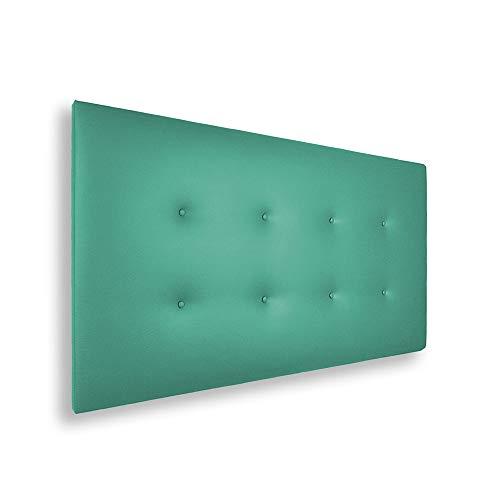 SILCAR HOME - Cabecero de Cama Tapizado en Polipiel con 2 Hileras de Botones, Modelo Carlo (Verde, 145 cm)   Cabecero Acolchado   Cabezal Tapizado   Cabecero Original   Transporte Incluido