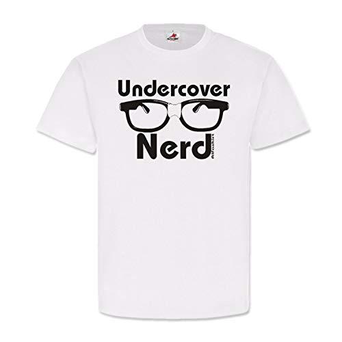 Undercover Nerd Big Bang Brille Noobs Geek Computerfreak Hornbrille Spass Fun Humor Karneval Rollenspiel T Shirt #20869, Größe:L, Farbe:Weiß
