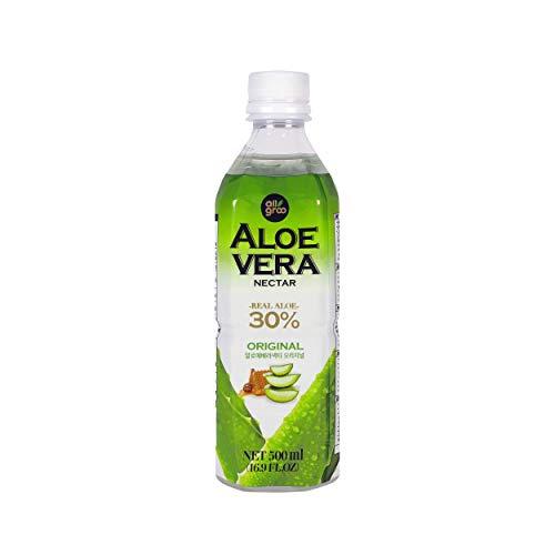 Allgroo Aloe Vera Drink - Erfrischendes Aloe-Vera-Getränk aus Südkorea - Geschmacksrichtung: Pur mit Honig verfeinert und Fruchtfleisch - Einwegpfand, Vorteilspack (12 x 500 ml)
