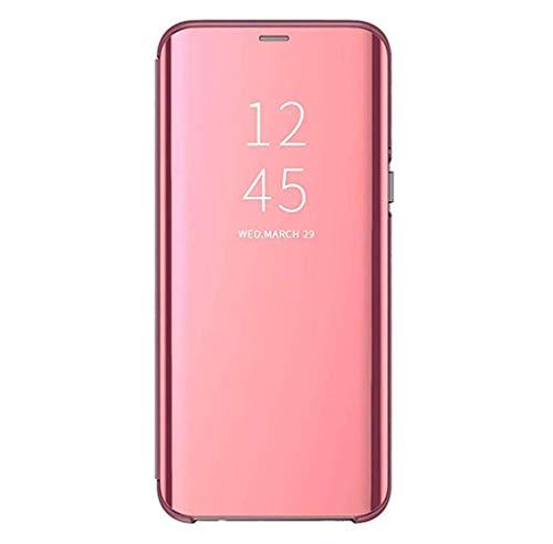 TOOBY Custodia Samsung Galaxy C9/C9 PRO Clear View Standing Cover Mirror Flip Custodia 360 Gradi Protezione Portafoglio Elegante Flip Case Copertura (ROSA)