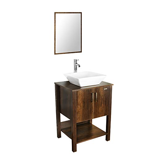 """eclife 24"""" Bathroom Vanity Sink Combo Brown Cabinet Modern Stand Pedestal W/Square White Ceramic Vessel Sink, Chrome Bathroom Solid Brass Faucet and Pop Up Drain Combo, W/Mirror (A07 B12C)"""