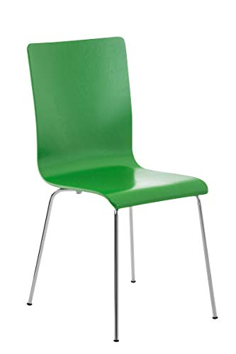 CLP Wartezimmerstuhl Pepe mit ergonomisch geformten Holzsitz und Metallgestell I Konferenzstuhl I erhältlich, Farbe:grün