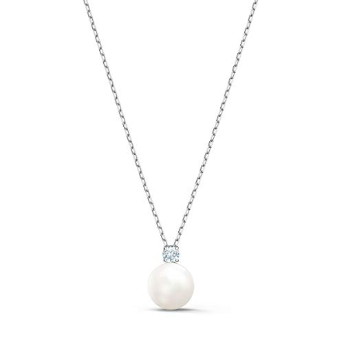 Swarovski Treasure Collection Necklace for Women, Crystal Pearl Pendant with Sparkling Accent Crystal on Rhodium Plated Chain