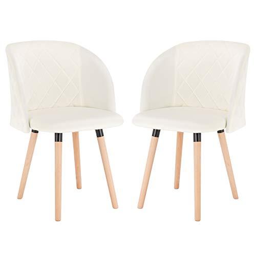 EUGAD 0300BY-2 2 Stücke Esszimmerstühle Küchenstuhl Wohnzimmerstuhl Polsterstuhl, Retro Design, gepolsterte Sitzfläche aus Samt, Massivholz, Cremeweiß