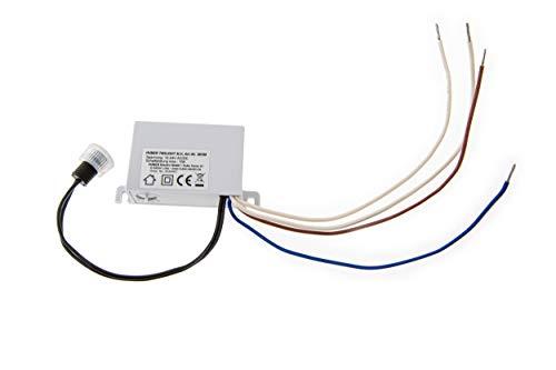 HUBER Twilight 3LV interruptor crepuscular de exterior, sensor crepuscular ajustable [5-50 Lux], sensor con protección IP44 I interruptor crepuscular empotrable, 12-24V AC/DC