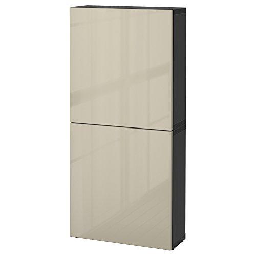 IKEA BESTA–Armario de pared con 2puertas/selsviken vinilo adhesivo decorativo (negro y marrón/beige