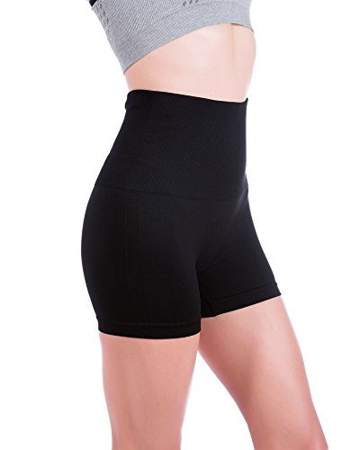 Homma Women's Tummy Control Fitness Workout Running Yoga Shorts (X-Large, Black 2)