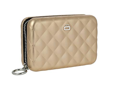 Ögon Smart Wallets - Quilted Zipper Wallet - RFID Protection : Protects Your Cards from Stealing - Up to 24 Cards + receits + Notes + Coins - Anodised Aluminium (Rose Gold)