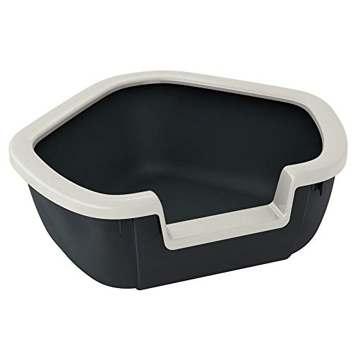 Ferplast Ecktoilette für Katzen offene Katzentoilette Dama Eckkatzentoilette, widerstandsfähiger Kunststoff, abnehmbarer Rahmen, 57,5 x 51,5 x 22 cm, schwarz