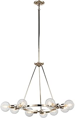 Kichler 42474PN Garim Chandelier, 9 Light Incandescent 360 Total Watts, Polished Nickel