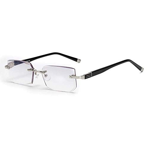 Gafas de Lectura Block Blue Light sin Bordes,Lente de Resina de Corte de Diamante Ultra Clear Vision Block Blue Light Alivia la Fatiga Ocular,+3.5