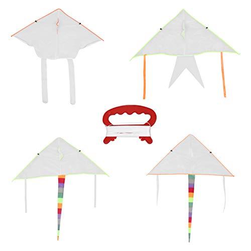 YARNOW 4 Juegos de Cometas DIY para Niños con Línea de Cometa Kit DE FABRICACIÓN de Cometa en Blanco para Pintar Cometa Voladora para Niños