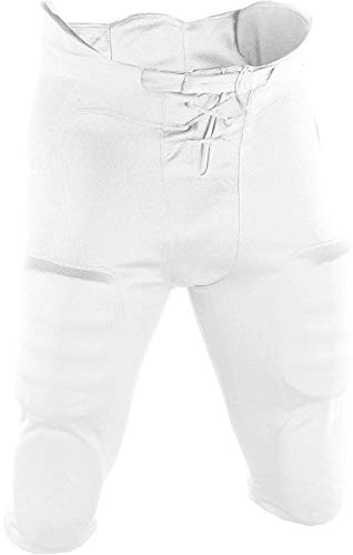 Adams Youth Football Practice Pant with Sewn In Pad-(7 piece pad set) (White, XX-Large)