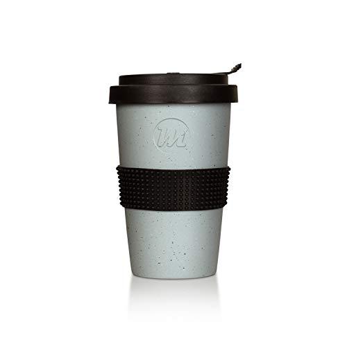 Mahlwerck Kaffeebecher to go, Porzellan Coffee-to-go Becher mit auslaufsicherem Deckel, Beton-Design,grau, 400ml