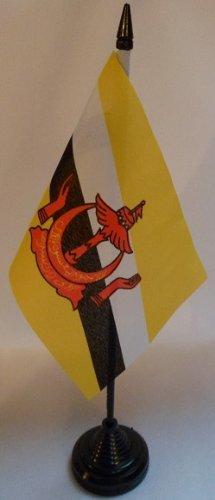Lot de 12 Brunei 4 x 6 cm-Drapeaux de bureau avec bâtonnets &Bases