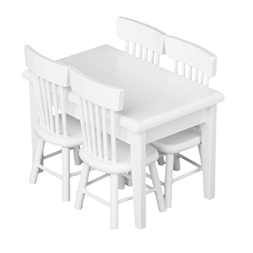 BESPORTBLE 5 Stück Miniatur Puppenhaus Esstisch Stuhl Set Puppenhaus Holzmöbel (Weiß)