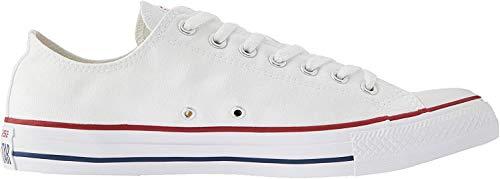 Converse Chuck Taylor All Star Ox Sportschuhe aus Leinen, Unisex, Schwarz - Weiß Optisches Weiß - Größe: 40 EU