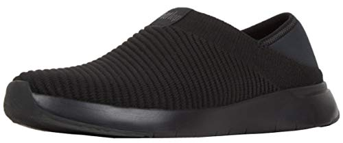 FitFlop Womens Artknit Slip On Sneaker Shoes, All Black, US 11