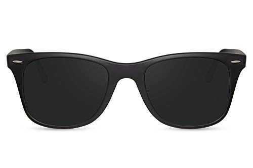 Cheapass Gafas de Sol Matt Black Classic Frame Lentes Oscuras Aluminum Temples UV400 Festival Men Mujer