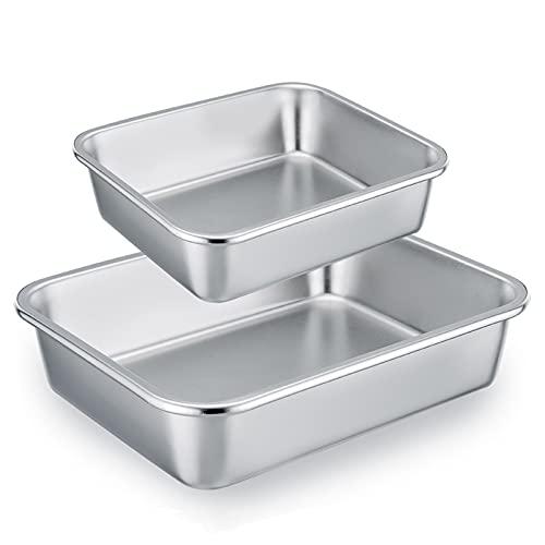 Homikit Auflaufform 2er-Set, Edelstahl Rechteckig Kuchenform Backform Tiramisu form, Ofenform - ideal für Lasagne/Mäser/Brownie, Schwerlast & Hitzebeständig, spülmaschinengeeignet