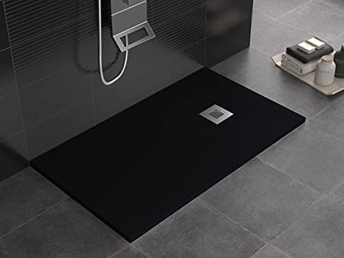 Plato de ducha de mineralmármol color negro superficie efecto piedra pizarra, serie Lion, Slim 3 cm, revestido de Gelcoat, antideslizante (80 x 170)