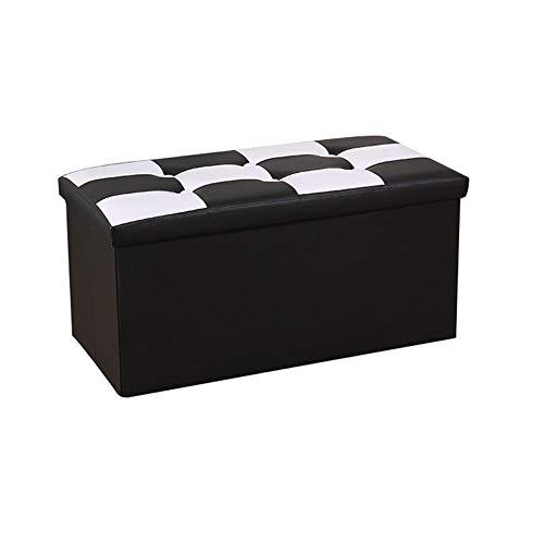 Yao rack Tabouret de Rangement rectangulaire en Cuir Pliant Ottoman Repose-Pieds Doux et Confortable Espace économie Ottoman 76 × 38 × 38Cm,Black
